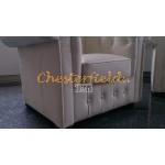 Klassisk Chesterfield 2+1+1 soffgrupp vanilj (K2)i färg helt i äkta skinn