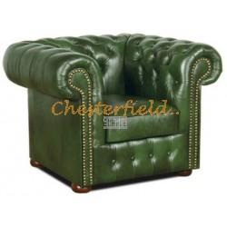 Klassisk XL antikgrön (A8) Cheserfield fåtölj helt i äkta skinn