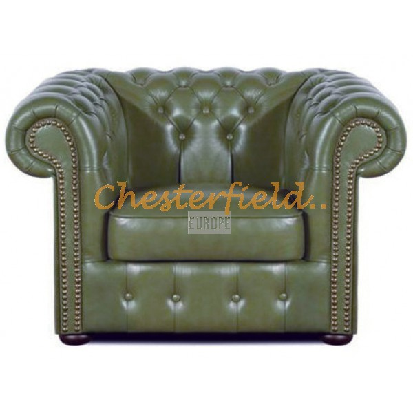 Klassisk XL Olivgrön (S14) Chesterfield fåtölj helt i äkta skinn