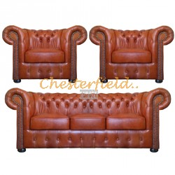 Klassisk Chesterfield 3+1+1 soffgrupp whisky (C12)i färg helt i äkta skinn