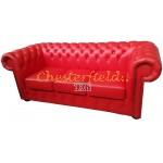 Klassisk Chesterfield 3 sits soffa röd (K55) i färg helt i äkta skinn