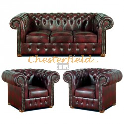 Klassisk Chesterfield 3+1+1 soffgrupp Oxblod (A7)i färg helt i äkta skinn