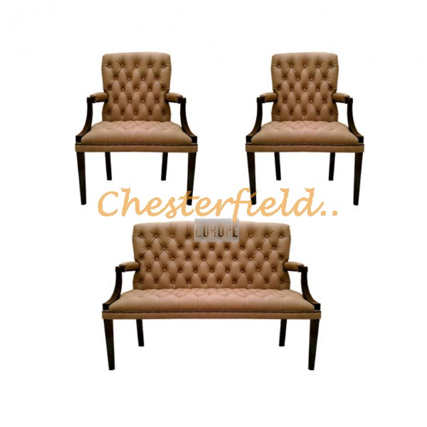 King Chesterfield 2+1+1 soffgrupp cappucchino i färg helt i äkta skinn