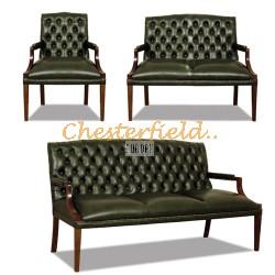 King Chesterfield 3+2+1 soffgrupp antikgrön (A8)i färg helt i äkta skinn