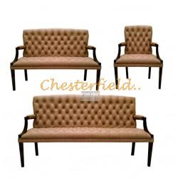 King Chesterfield 3+2+1 soffgrupp cappucchino i färg helt i äkta skinn