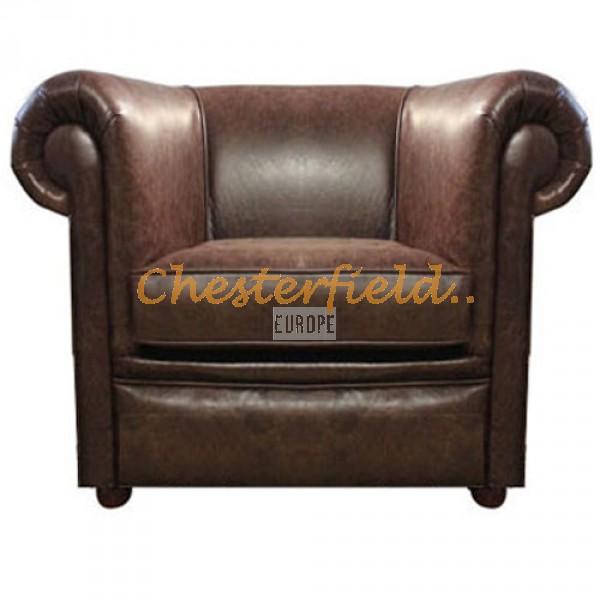 London brun (A5) Chesterfield fåtölj helt i äkta skinn