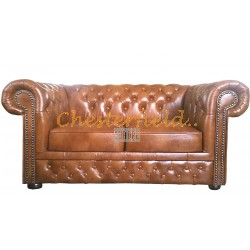 Lord Chesterfield 2 sits soffa (S12) guld i färg helt i äkta skinn
