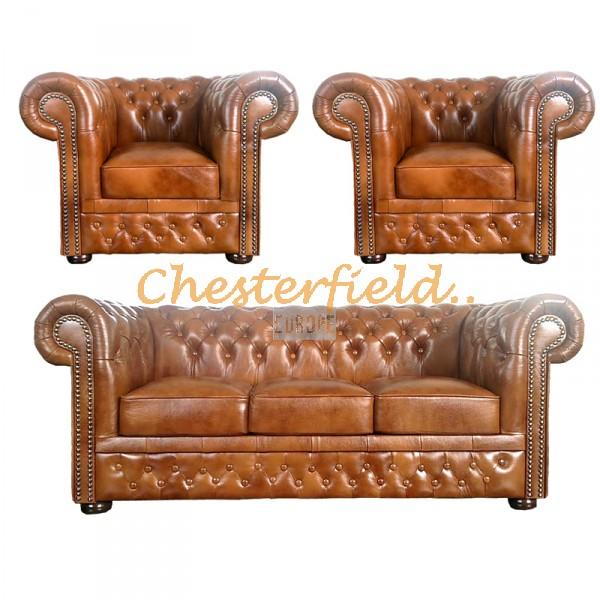 Lord Chesterfield 3+1+1 soffgrupp guld (S12)i färg helt i äkta skinn