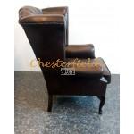 Queen Chesterfield öronlappsfåtölj brun (A5 mörk) i färg helt i äkta skinn