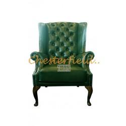 St.James Chesterfield öronlappsfåtölj grön (A8) i färg helt i äkta skinn
