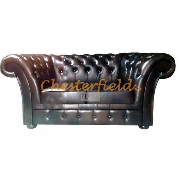 Windchester Chesterfield 2 sits soffa (A5) antikbrun i färg helt i äkta skinn
