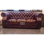 Windsor Chesterfield 3 sits soffa (A7) oxblod i färg helt i äkta skinn