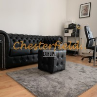 Chesterfield klassisk svart soffa