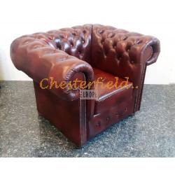 Klassisk XL oxblod (A7) Chesterfield fåtölj helt i äkta skinn