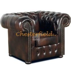 Klassisk XL antikbrun (A5) Chesterfield fåtölj helt i äkta skinn