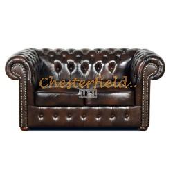Klassisk Chesterfield 2 sits soffa (A5) brun i färg helt i äkta skinn