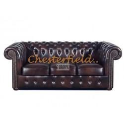 Klassisk Chesterfield 3 sits soffa (A5) brun i färg helt i äkta skinn