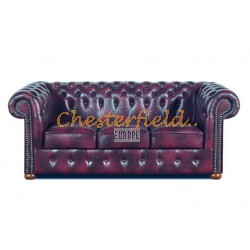 Klassisk Chesterfield 3 sits soffa (A7) oxblod i färg helt i äkta skinn