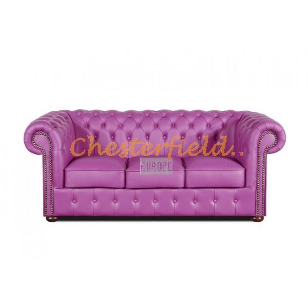 Klassisk Chesterfield 3 sits soffa viola i färg helt i äkta skinn