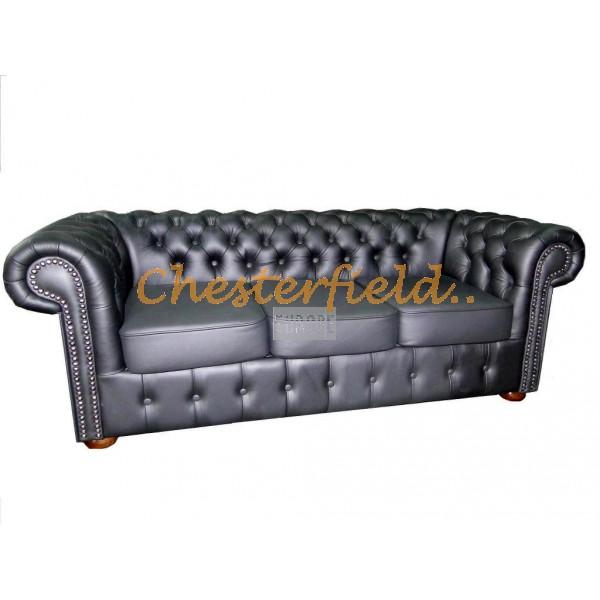 Klassisk Chesterfield 3 sits soffa (K70) svart i färg helt i äkta skinn