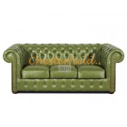 Klassisk Chesterfield 3 sits soffa (S14) oliv i färg helt i äkta skinn
