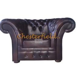 Windchester brun (A5) Chesterfield fåtölj helt i äkta skinn