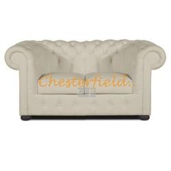 Klassisk Chesterfield 2 sits soffa (K2) vanilj i färg helt i äkta skinn