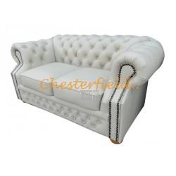 Windsor Chesterfield 2 sits soffa (K2) vanilj i färg helt i äkta skinn