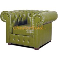 Mark Chesterfield fåtölj olivgrön (S14) i färg helt i äkta skinn