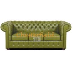 Mark Chesterfield 3 sits soffa (S14) oliv i färg helt i äkta skinn
