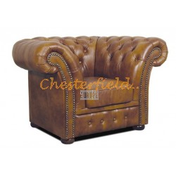 Windchester XL guld (S12) Chesterfield fåtölj helt i äkta skinn