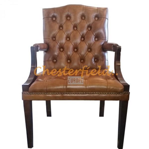 King Chesterfield öronlappsfåtölj guld (S12) i färg helt i äkta skinn