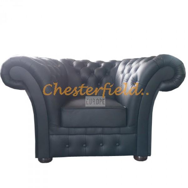 Windchester XL svart Chesterfield fåtölj helt i äkta skinn