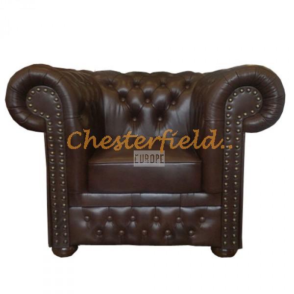 Lord XL Chesterfield fåtölj brun i färg helt i äkta skinn