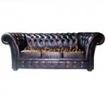 Windchester Chesterfield 3 sits soffa (A5) brun i färg helt i äkta skinn