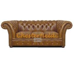 Windchester Chesterfield 3 sits soffa (S12) guld i färg helt i äkta skinn
