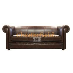 London Chesterfield 3 sits soffa (A5) brun i färg helt i äkta skinn
