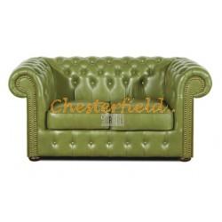 Klassisk Chesterfield 2 sits soffa (S14) olivgrön i färg helt i äkta skinn