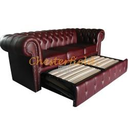 Klassisk Chesterfield 3 sits bäddsoffa (A7) oxblod i färg helt i äkta skinn