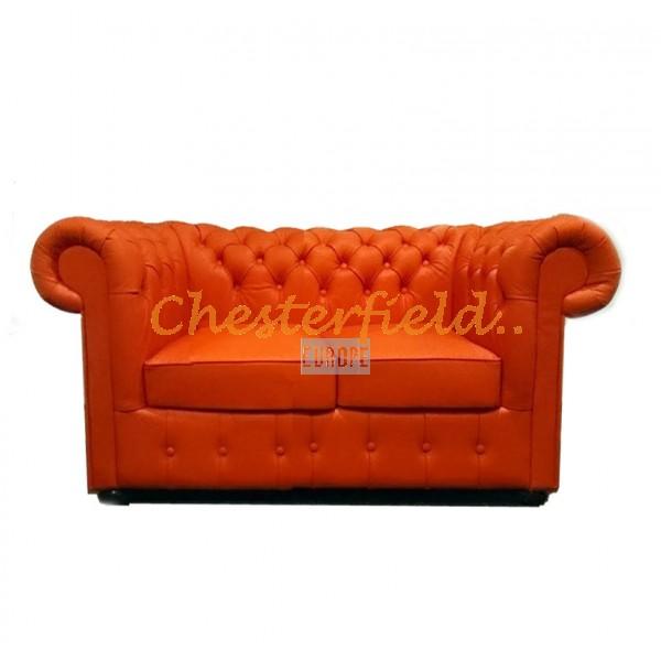 Klassisk XL Chesterfield 2 sits soffa apelsin i färg helt i äkta skinn