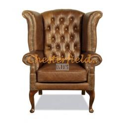 Queen XL Chesterfield öronlappsfåtölj guld (S12) i färg helt i äkta skinn