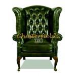 Queen Chesterfield öronlappsfåtölj antikgrön (A8) i färg helt i äkta skinn