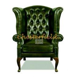 Queen XL Chesterfield öronlappsfåtölj antikgrön (A8) i färg helt i äkta skinn