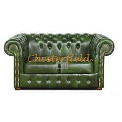Klassisk Chesterfield 2 sits soffa (A8) grön i färg helt i äkta skinn