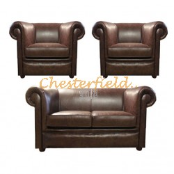London Chesterfield 2+1+1 soffgrupp antikbrun (A5) i färg helt i äkta skinn
