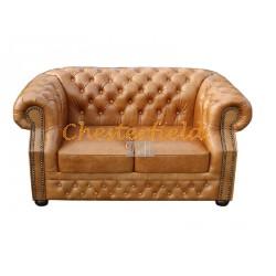 Windsor Chesterfield 2 sits soffa (C12) whisky i färg helt i äkta skinn