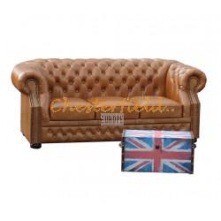 Windsor Chesterfield 3 sits soffa (C12) whisky i färg helt i äkta skinn
