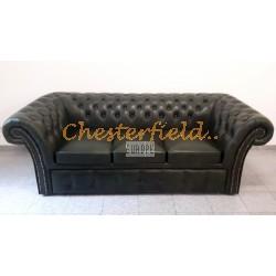 Windchester Chesterfield 3 sits bäddsoffa (A8) grön i färg helt i äkta skinn