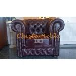 Windsor XL oxblod (A7) Chesterfield fåtölj helt i äkta skinn