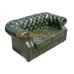 Windsor Chesterfield 2 sits soffa (A8) grön i färg helt i äkta skinn